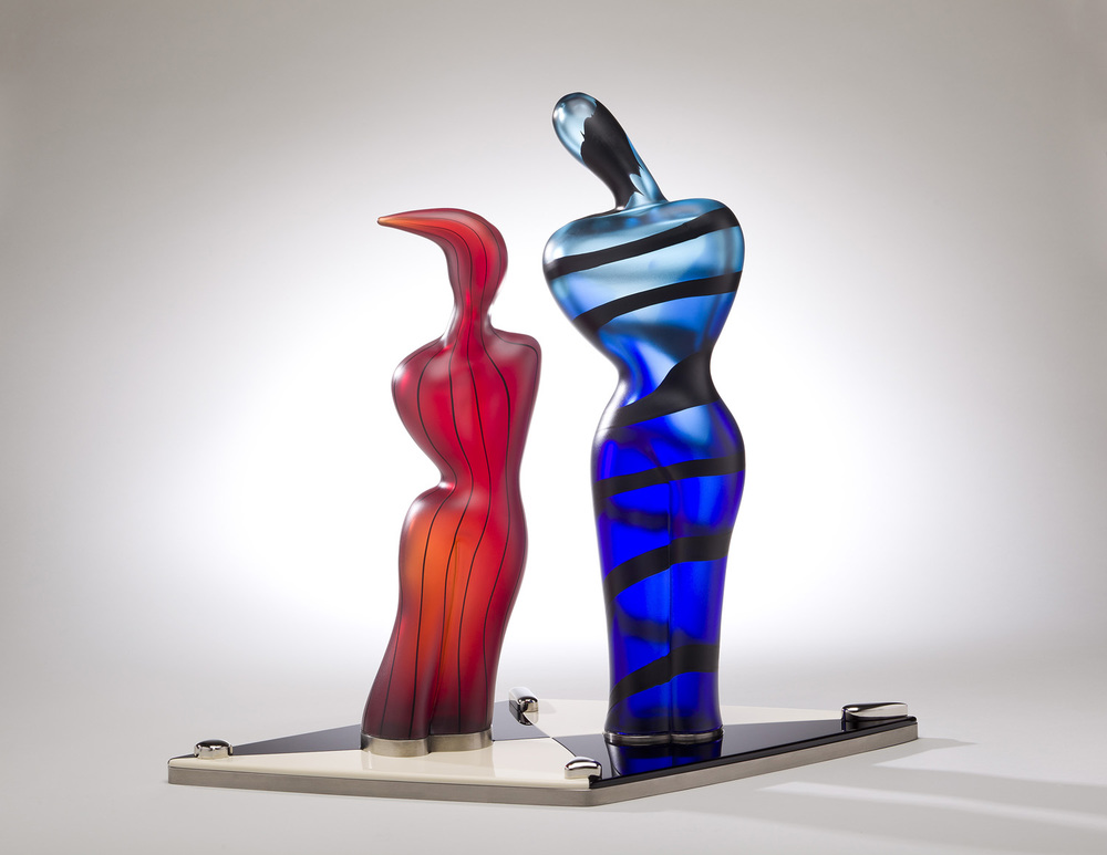 Overture    2011. Blown glass, Vitrolite, nickel-plated copper and aluminum. 22 x 25 x 14½""