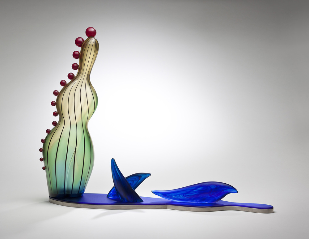 Dolphins    2010. Blown glass, hot-worked glass, mirror, aluminum. 22 x 29½ x 5½""
