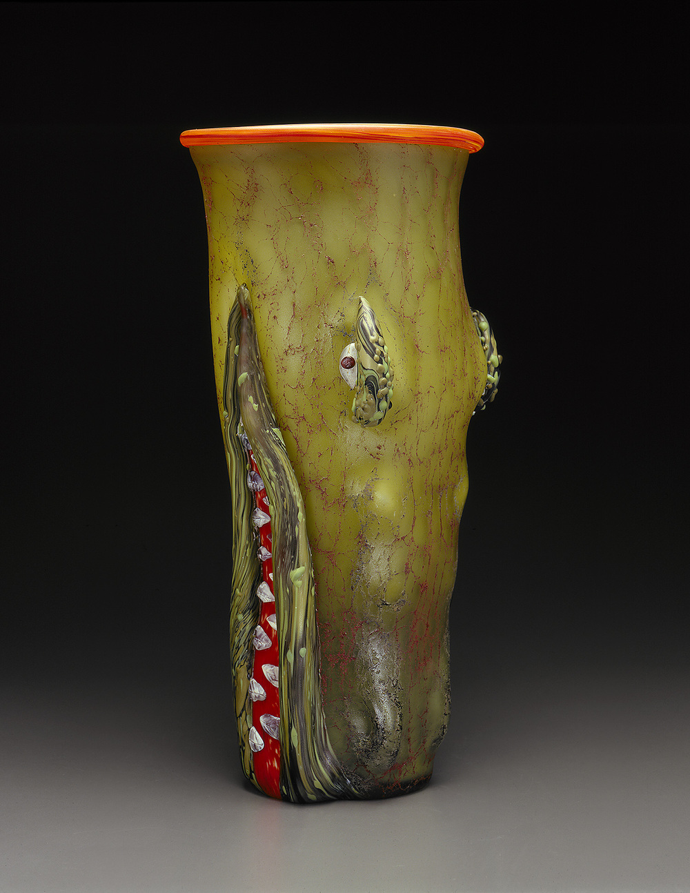 Female Alligator   1998. Blown glass, sandblasted and acid polished. 20½ x 11 x 8½""