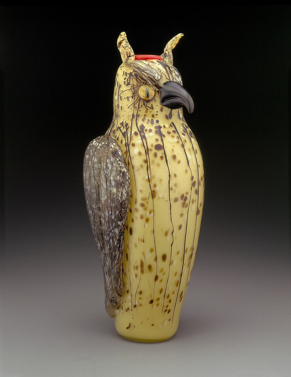 Owl   1998. Blown glass, sandblasted and acid polished. 21 x 9 x 7""