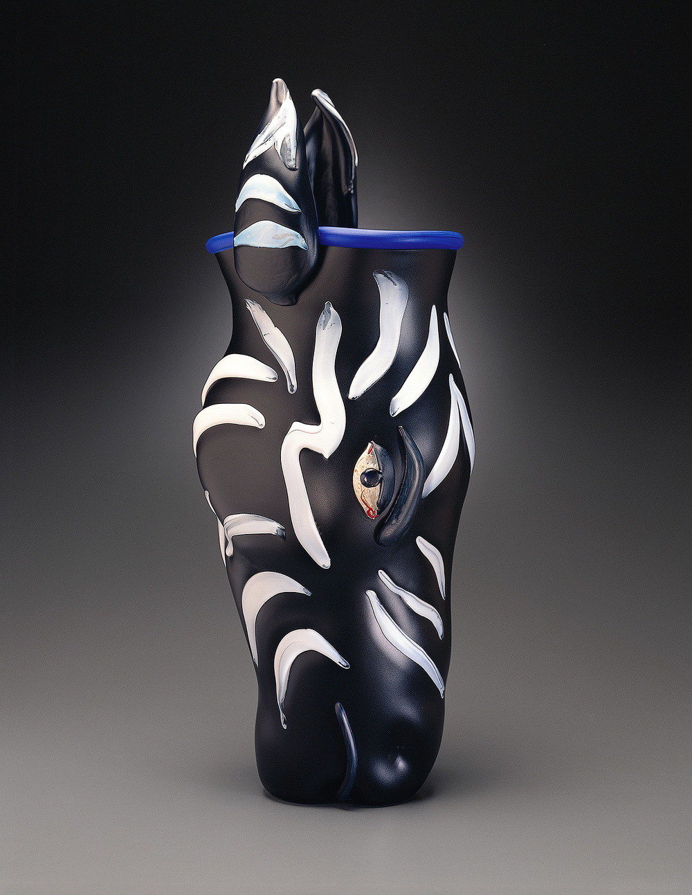Zebra   1995. Blown glass, sandblasted and acid polished. 24½ x 8½ x 9""