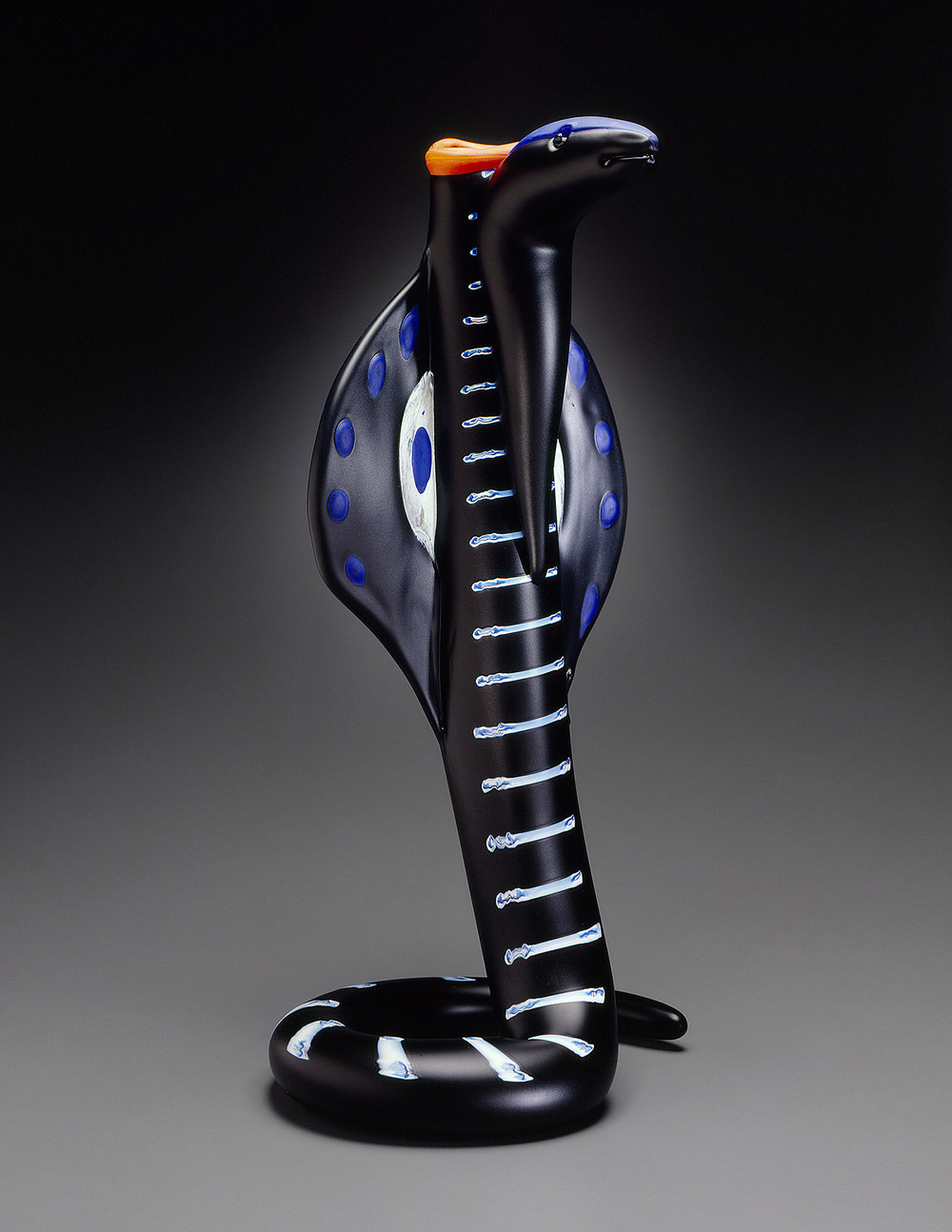 Cobra   1995. Blown glass, sandblasted and acid polished. 22½ x 11½ x 9½""