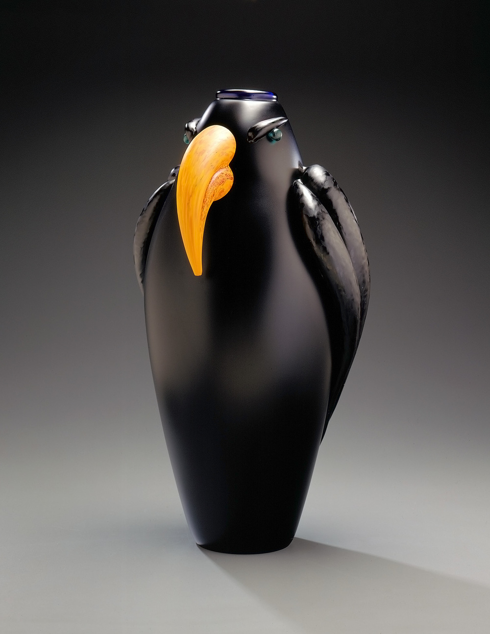 Hawk   1995. Blown glass, sandblasted and acid polished. 20 x 11 x 9½""