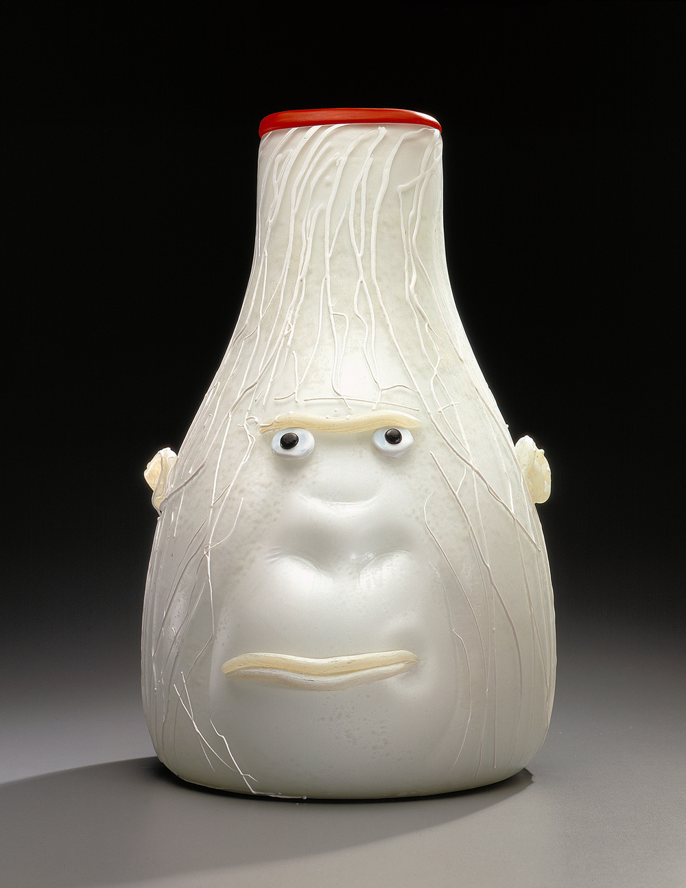 White Gorilla   1994. Blown glass, sandblasted and acid polished. 19 x 13""
