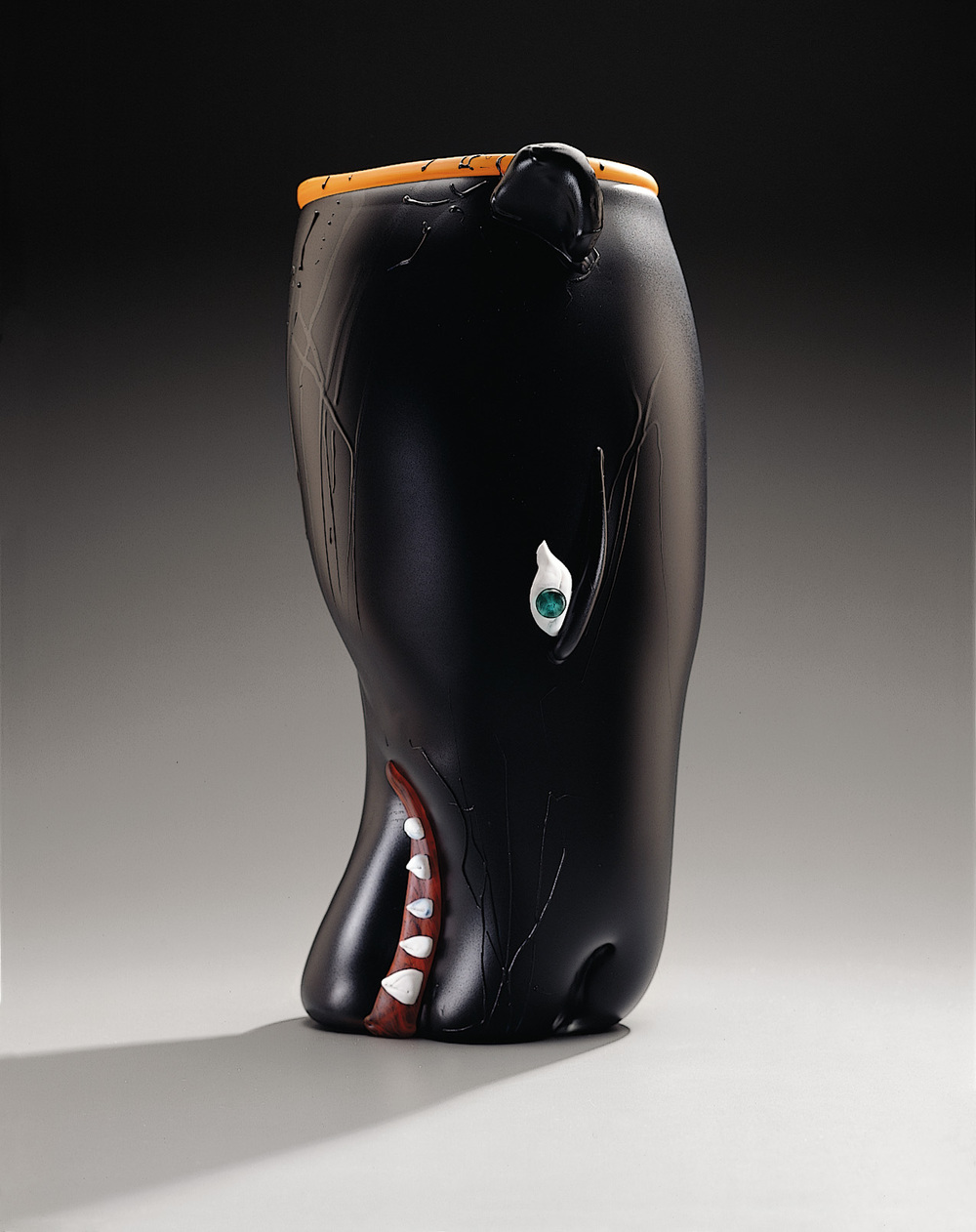 Panther   1994. Blown glass, sandblasted and acid polished. 18 x 10½""