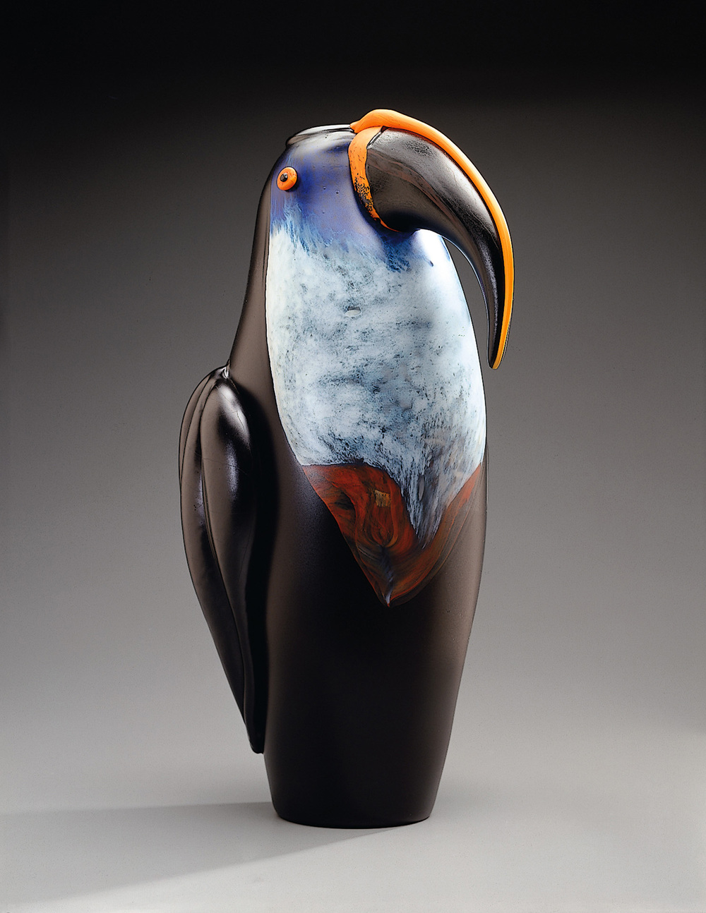 Toucan   1994. Blown glass, sandblasted and acid polished. 21½ x 12½""
