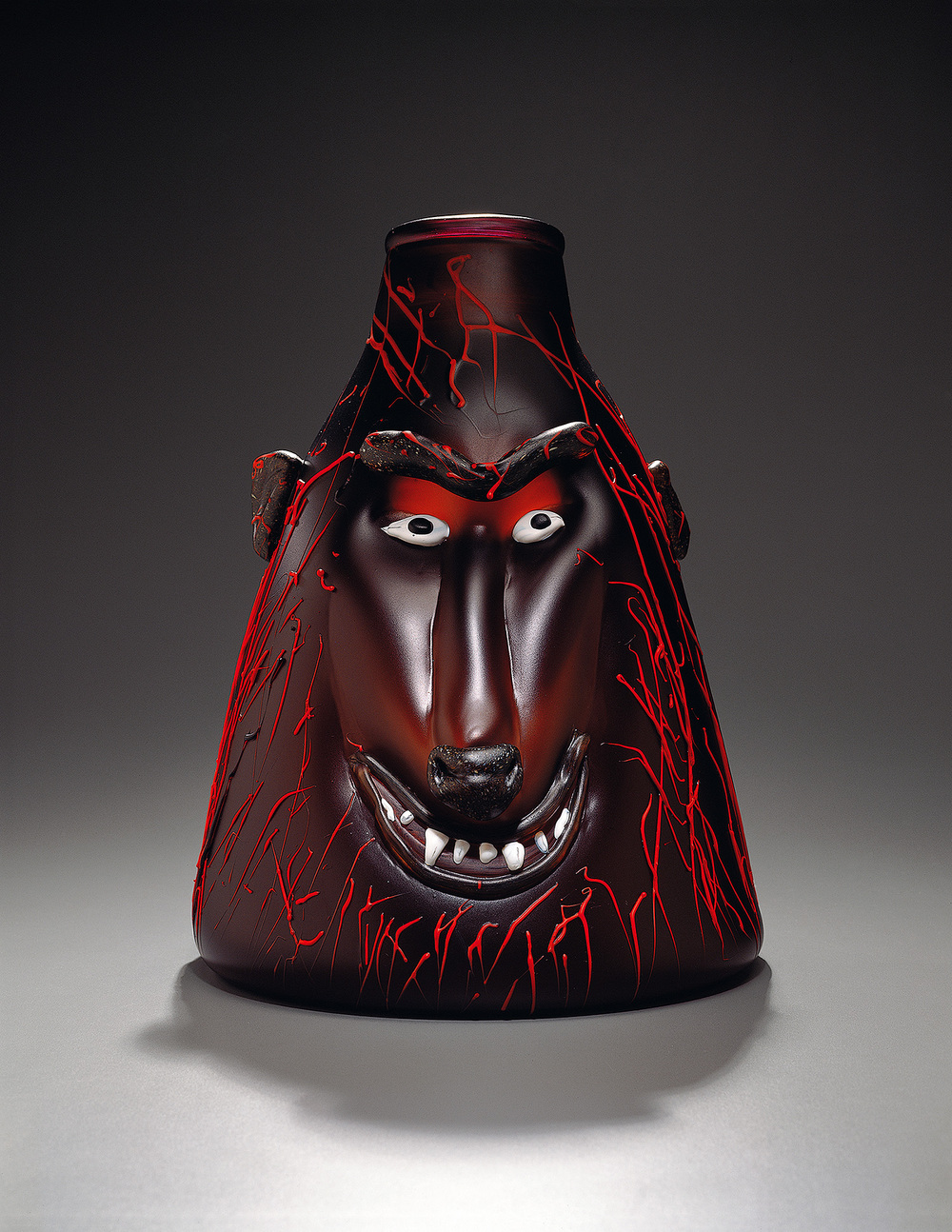 Baboon   1994. Blown glass, sandblasted and acid polished. 15½ x 12""