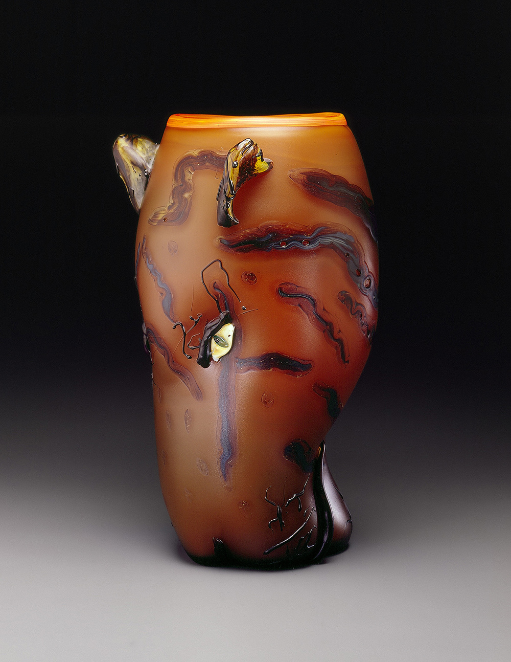 Tiger   1993. Blown glass, sandblasted and acid polished. 18 x 10""