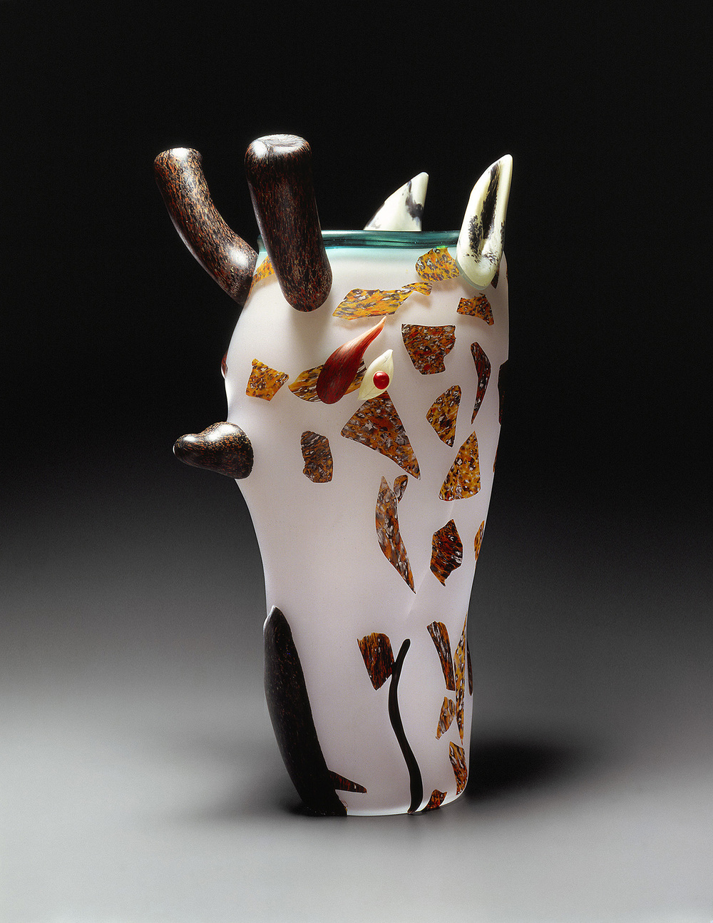 Giraffe   1992. Blown glass, sandblasted and acid polished. 20½ x 12½""