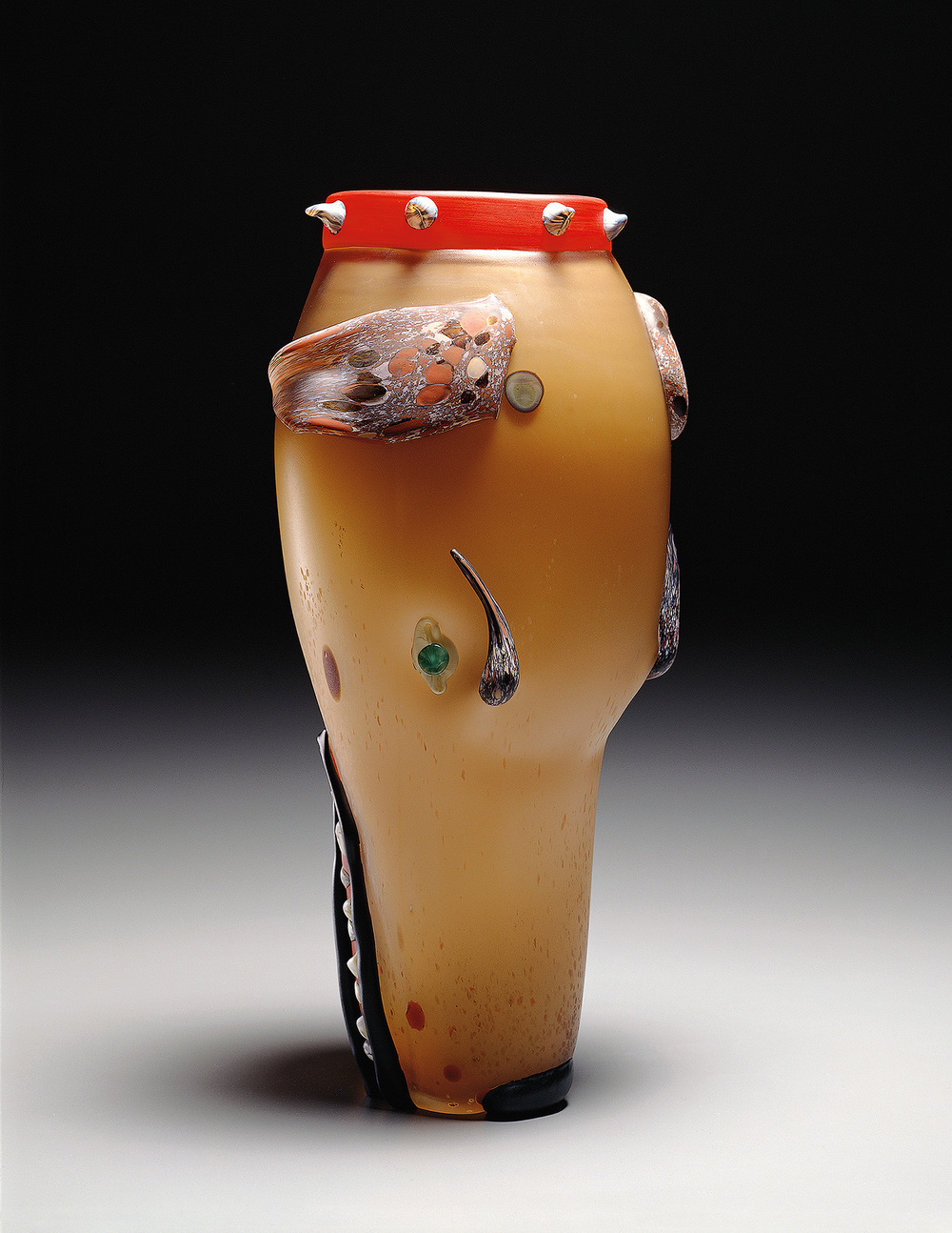Dog   1994. Blown glass, sandblasted and acid polished. 20 x 9""