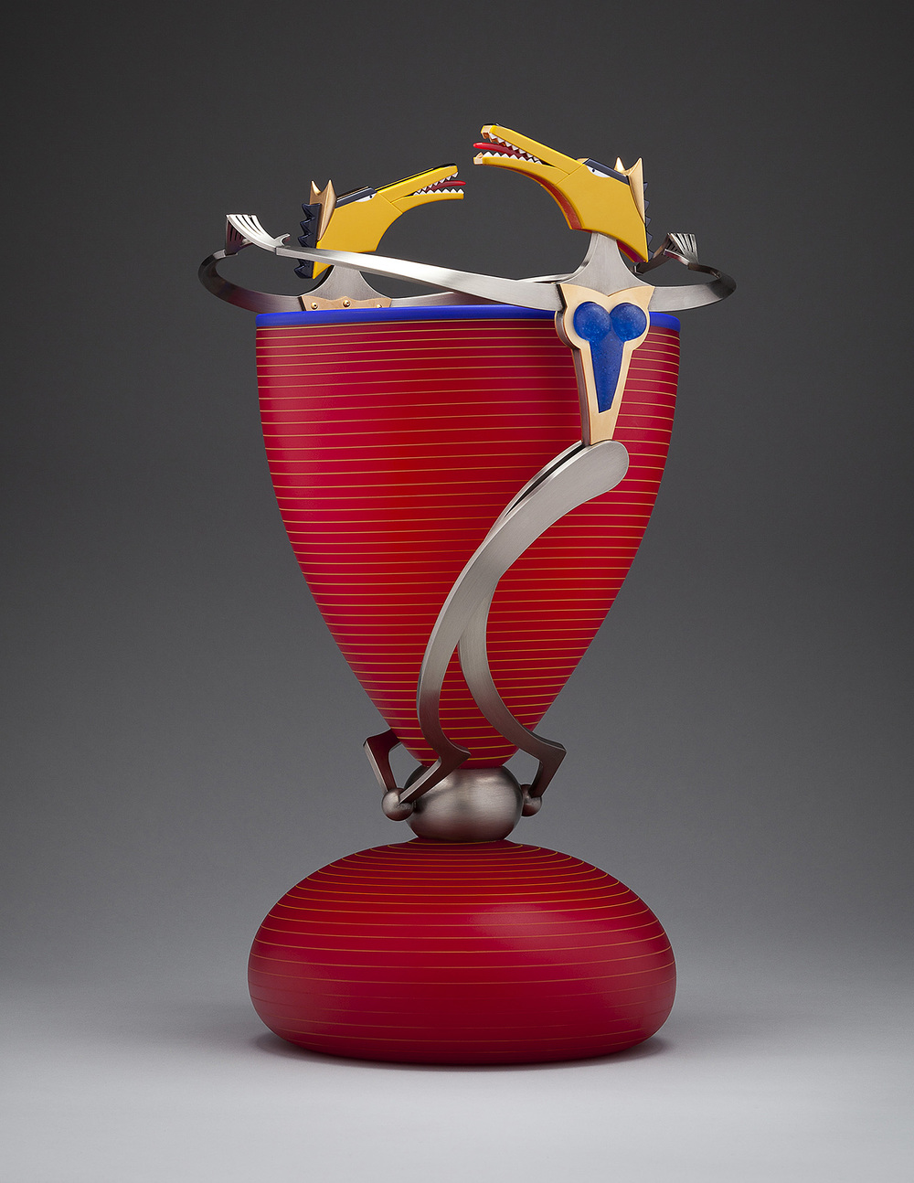 Foxen   2012 Blown glass, nickel and gold-plated bronze, Vitrolite, pate de verre. 21 x 13½ x 9½""