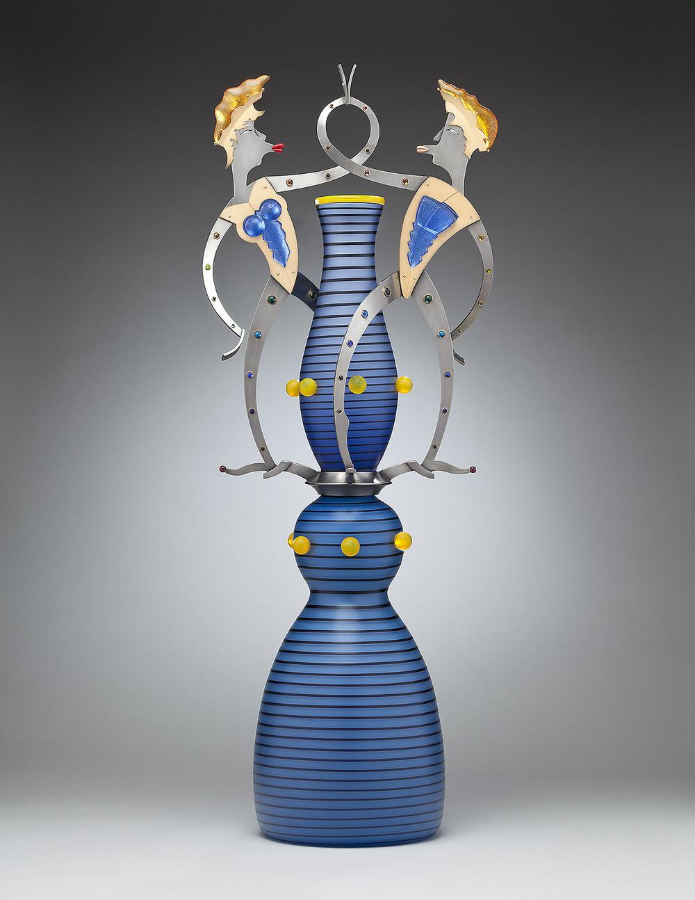 "Smoochers   2010. Blown glass, nickel and gold-plated bronze, Vitrolite, pate de verre. 42 x 16½ x 10"""
