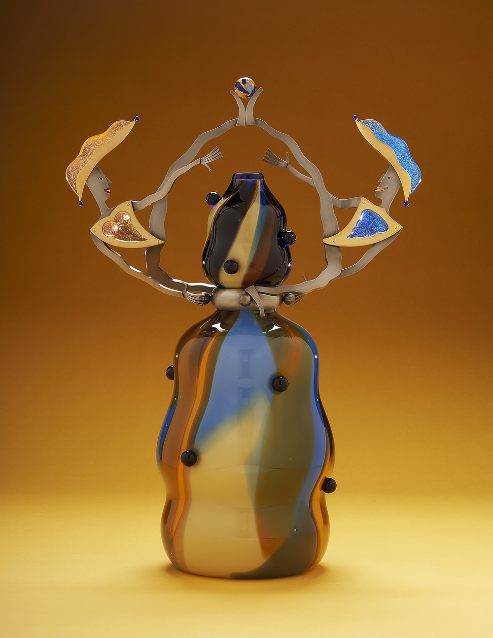 Magnetism   2006. Blown glass, nickel and gold-plated bronze, pate de verre, Vitrolite. 24 x 16 x 9""