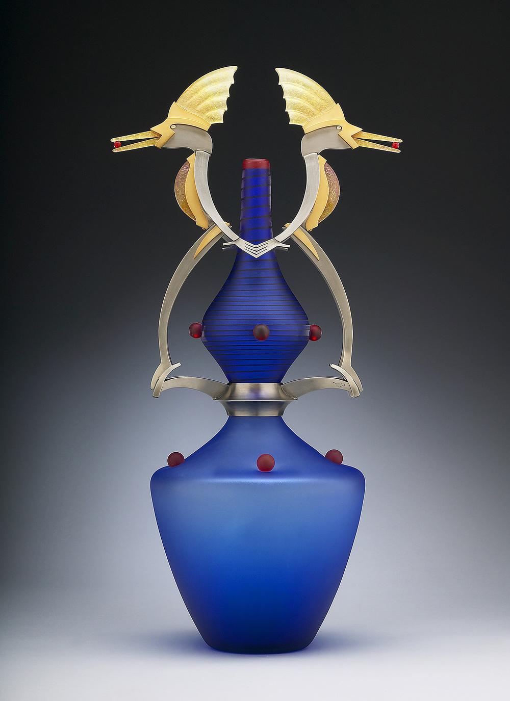 Pride   2005. Blown glass, nickel and gold-plated bronze, pate de verre, Vitrolite. 22 x 11 x 8""