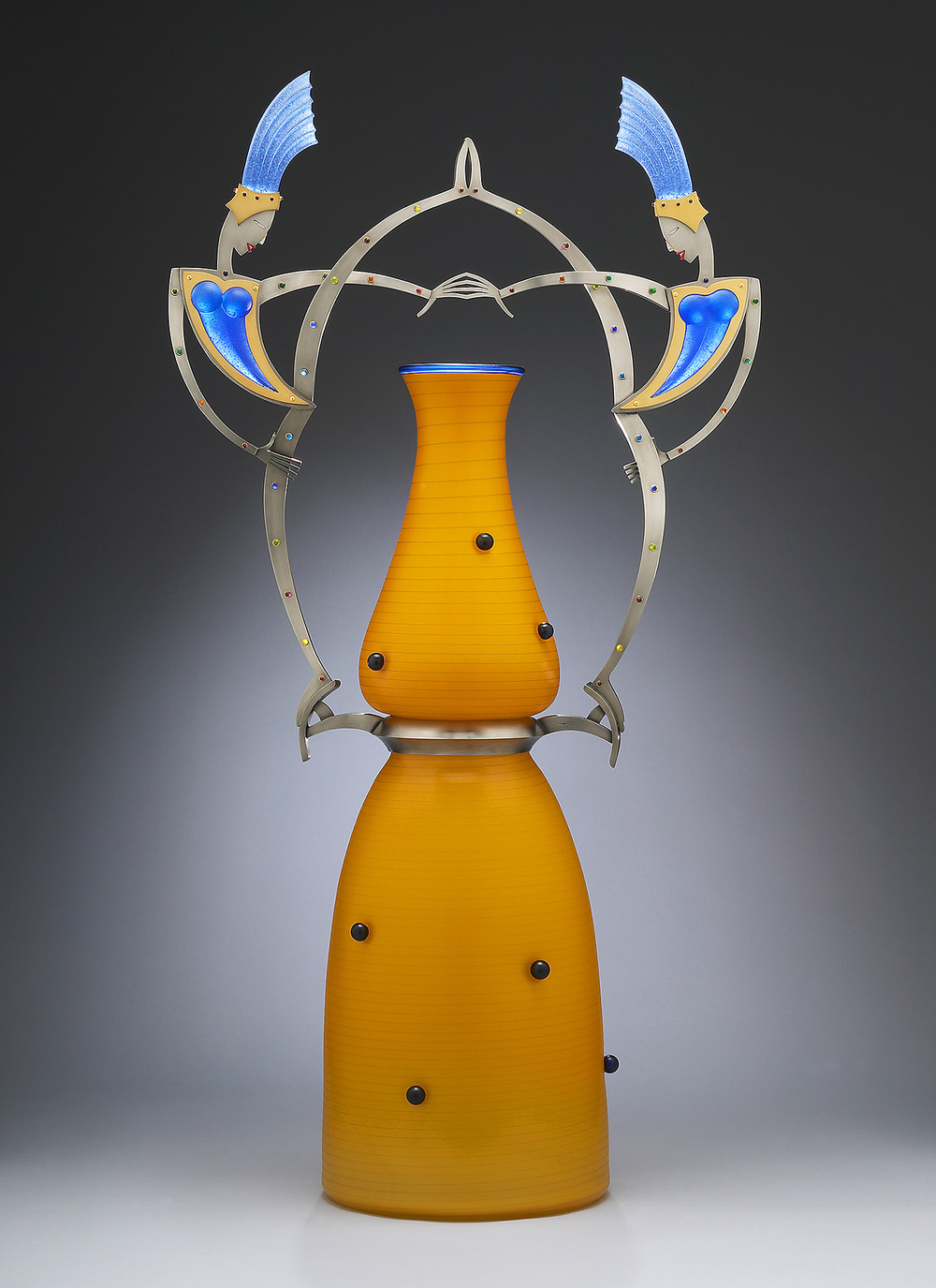 Shimmer   2005. Blown glass, nickel and gold-plated bronze, pate de verre, Vitrolite. 42 x 12½ x 11""
