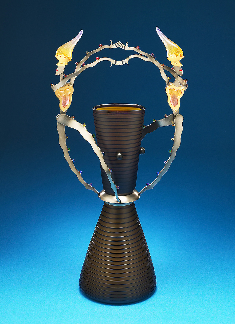 "Flutter   2004. Blown glass, nickel and gold-plated bronze, pate de verre, Vitrolite. 27½ x 13½ x 8"""
