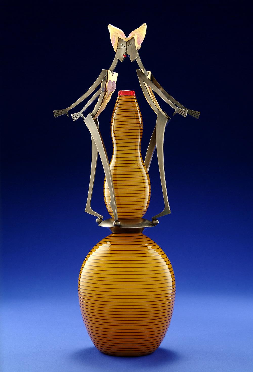 "Kiss   2004. Blown glass, nickel and gold-plated bronze, pate de verre, Vitrolite. 22½ x 9½ x 6½"""