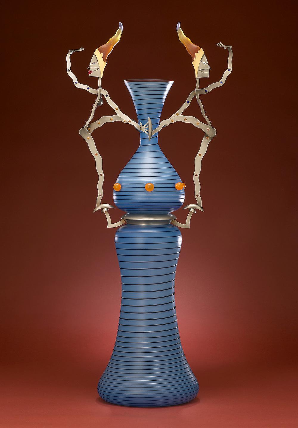 "Slippery   2003. Blown glass, nickel and gold-plated bronze, pate de verre, Vitrolite. 36 x 16 x 9½"""