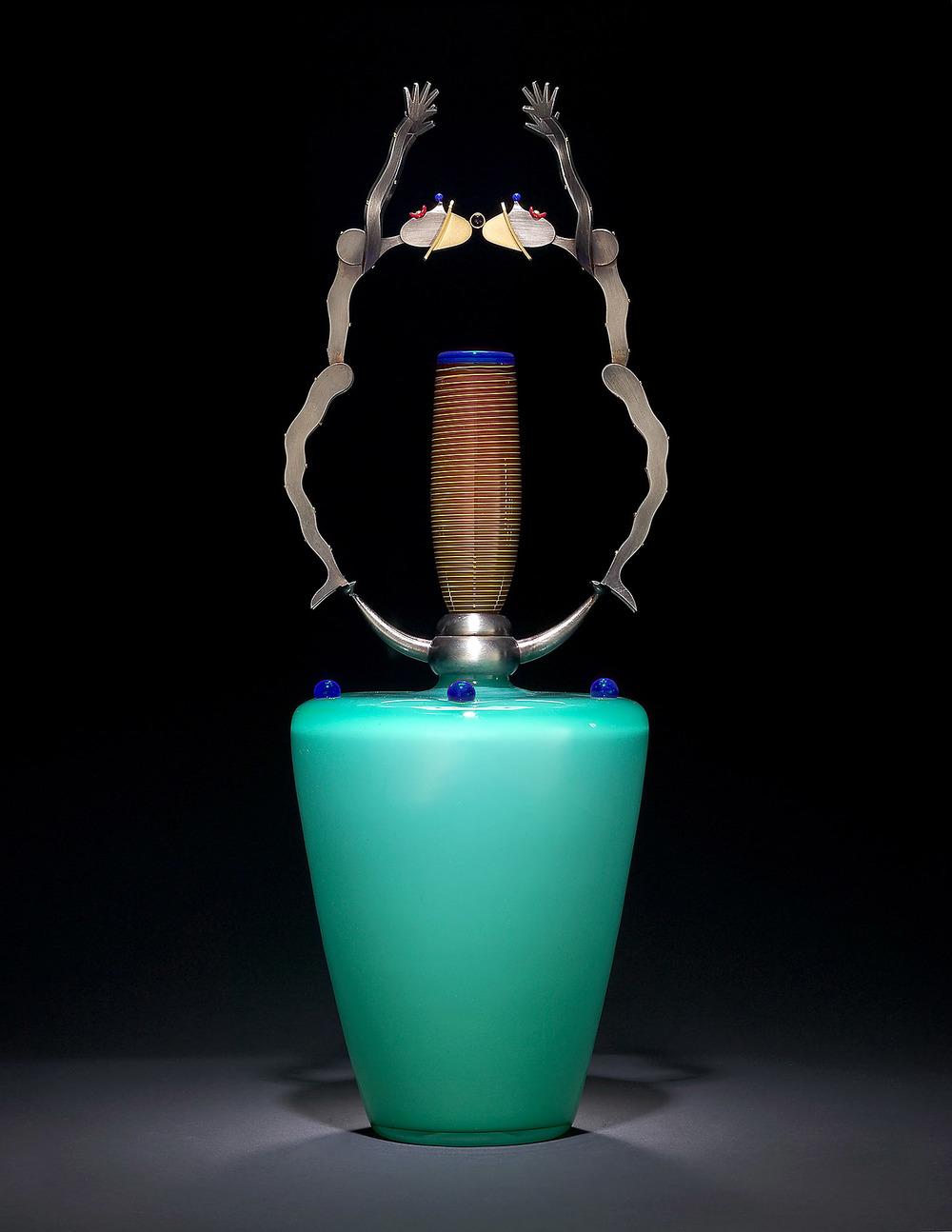 "Feelers   2003. Blown glass, nickel and gold-plated bronze, Vitrolite. 22 x 8 x 8"""
