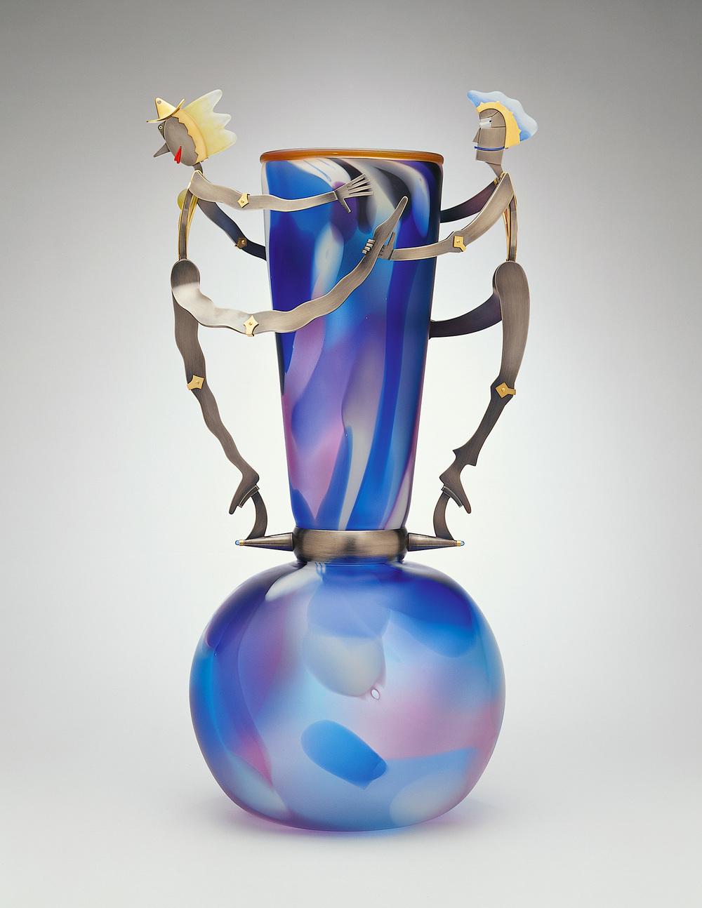 "Freddo and Calda   2001. Blown glass, nickel and gold-plated bronze, Vitrolite, pate de verre. 34½ x 18 x 14"""