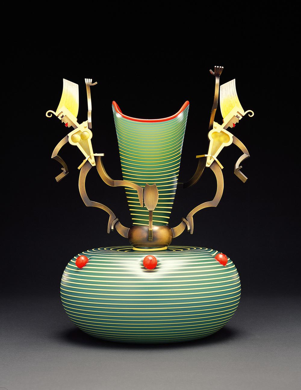 "Geometrance   2001. Blown glass, bronze and gold-plated bronze, Vitrolite. 15 x 10"""