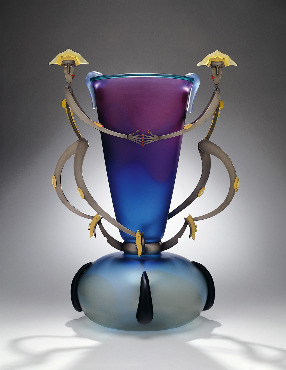 """Queens of Guile   2000. Blown glass, bronze and gold-plated bronze, pate de verre. 31½ x 21 x 17"""""""