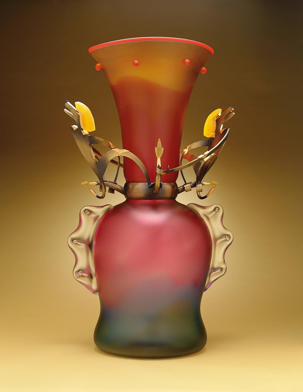 "Golden Baboons   2000. Blown glass, bronze and gold-plated bronze, pate de verre. 36 x 26 x 15"""