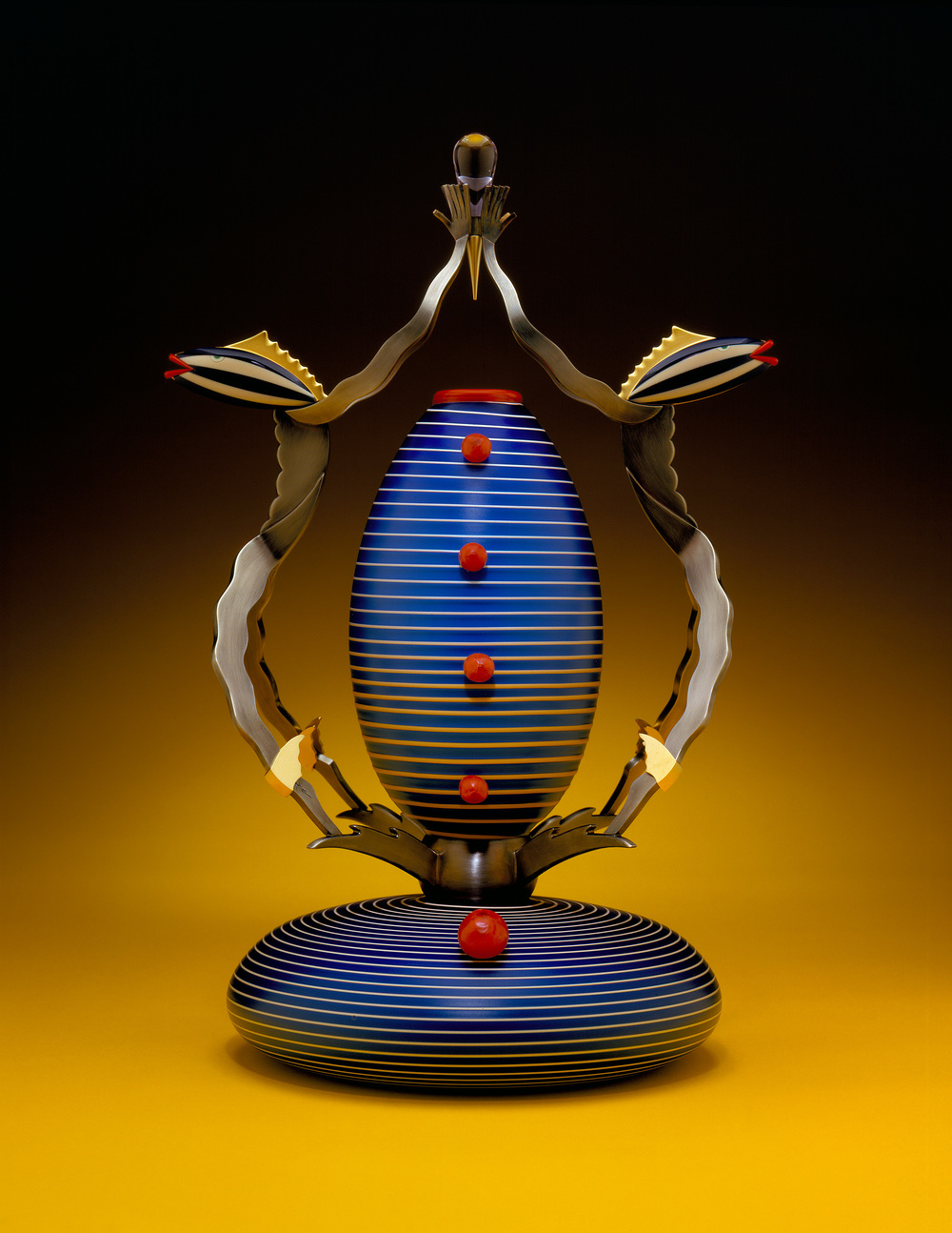 Water Men   2001. Blown glass, bronze and gold-plated bronze, Vitrolite. 19½ x 11½ x 10""