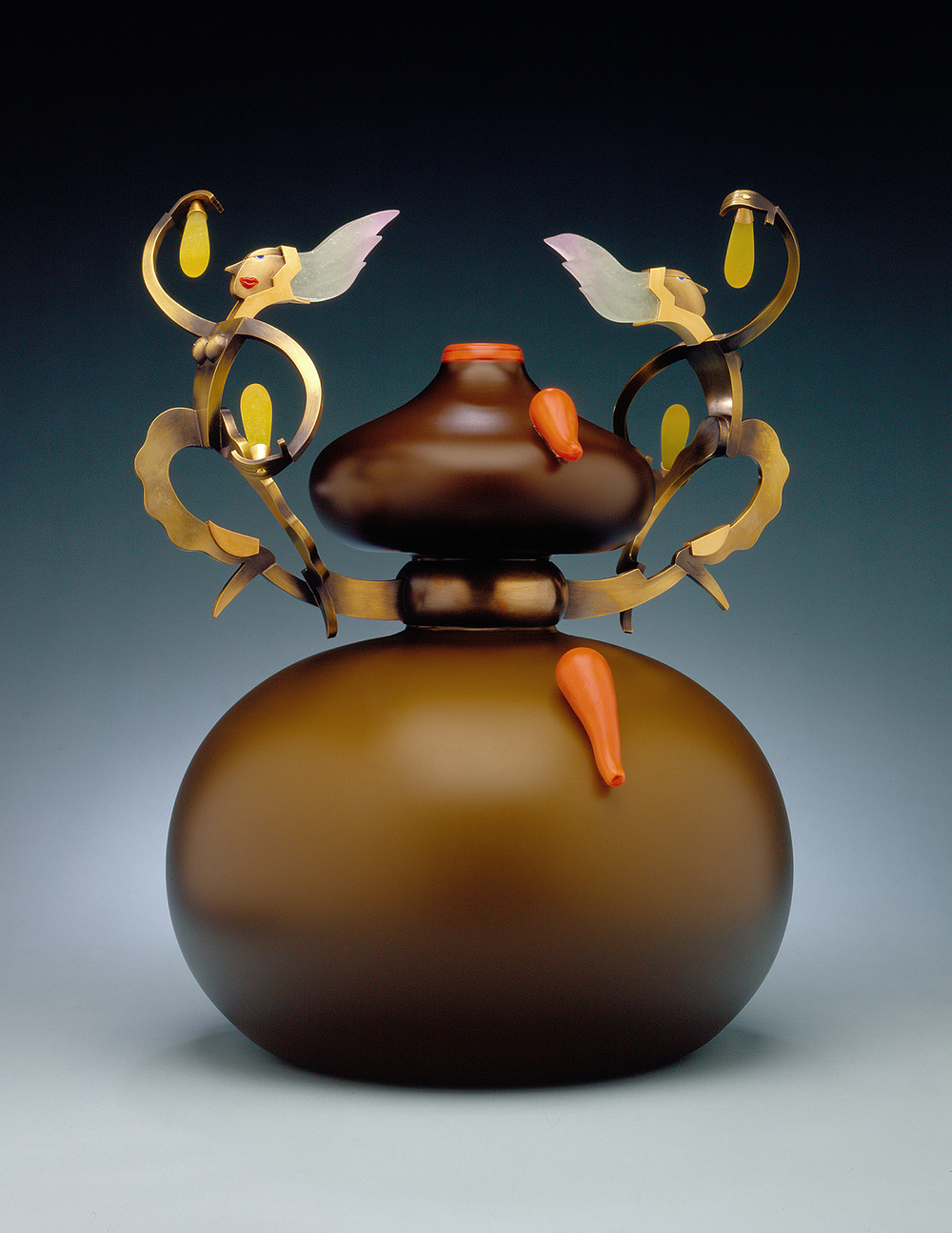 """Curiosities   2000. Blown glass, nickel and gold-plated bronze, Vitrolite and pate de verre. 16 x 11½ x11½"""""""