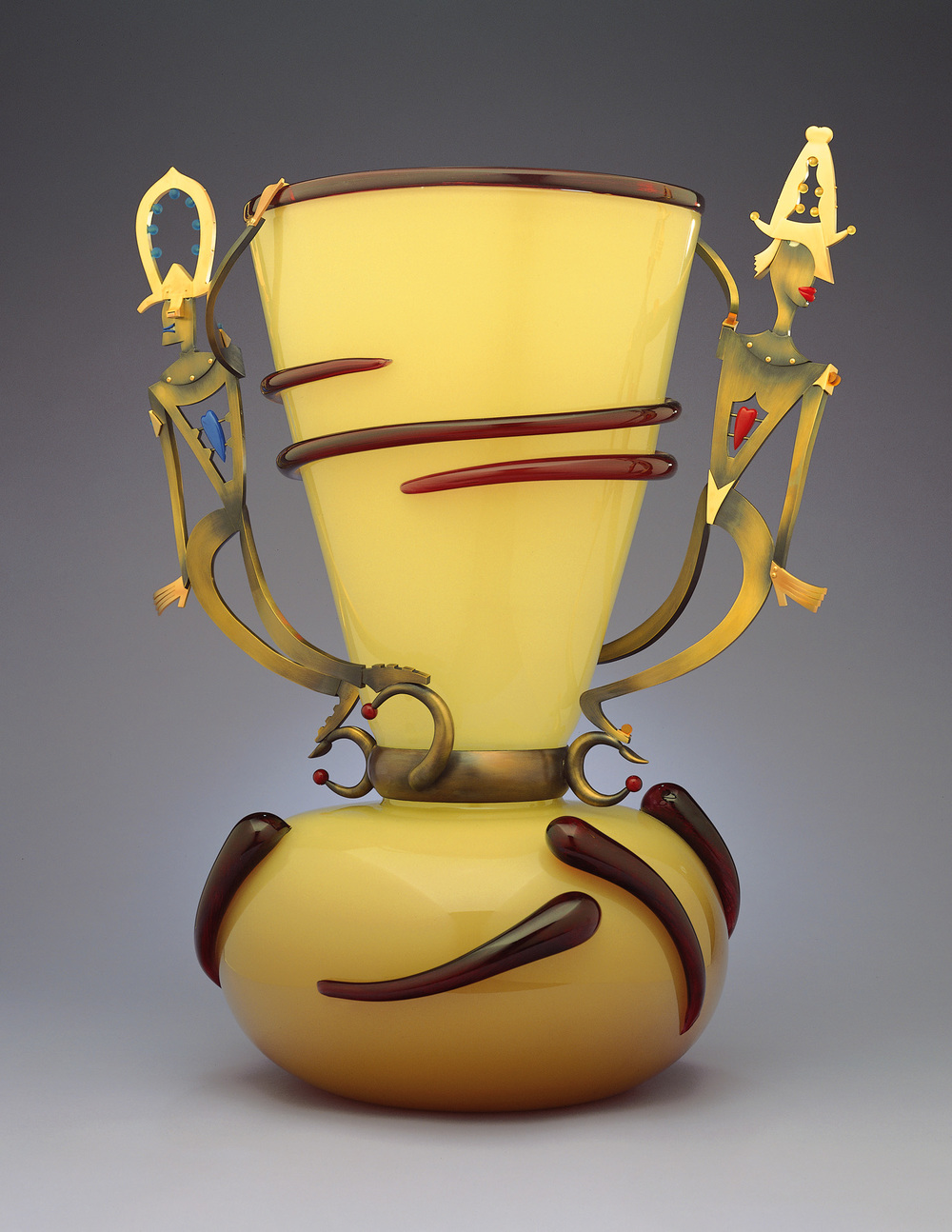 Circus Lovers   2000. Blown glass, bronze and gold-plated bronze. 30 x 22½ x 18""