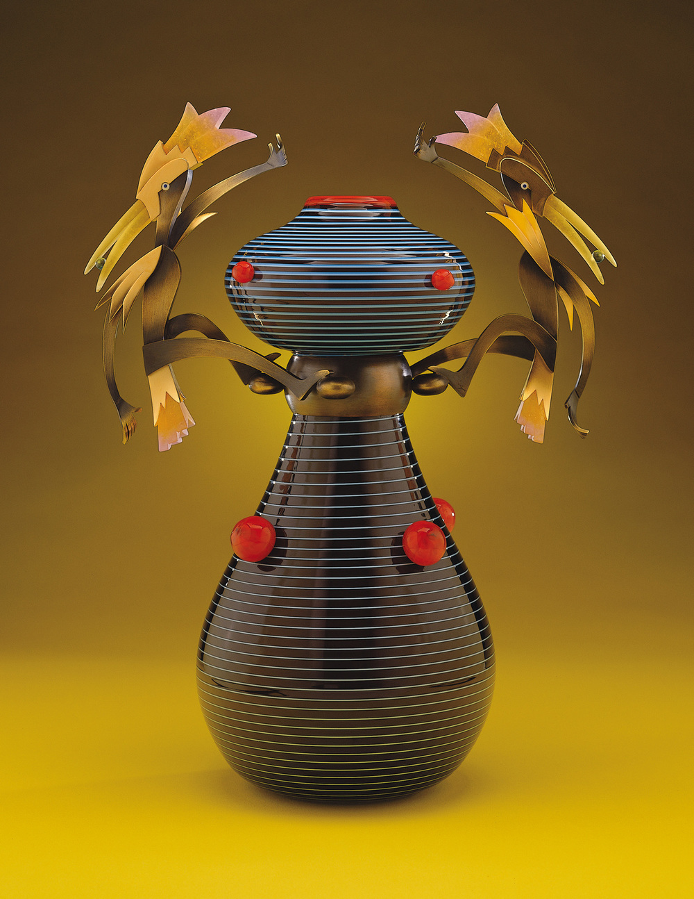 """Harlequins   2000. Blown glass, bronze and gold-plated bronze, pate de verre. 18 x 13½ x 8"""""""