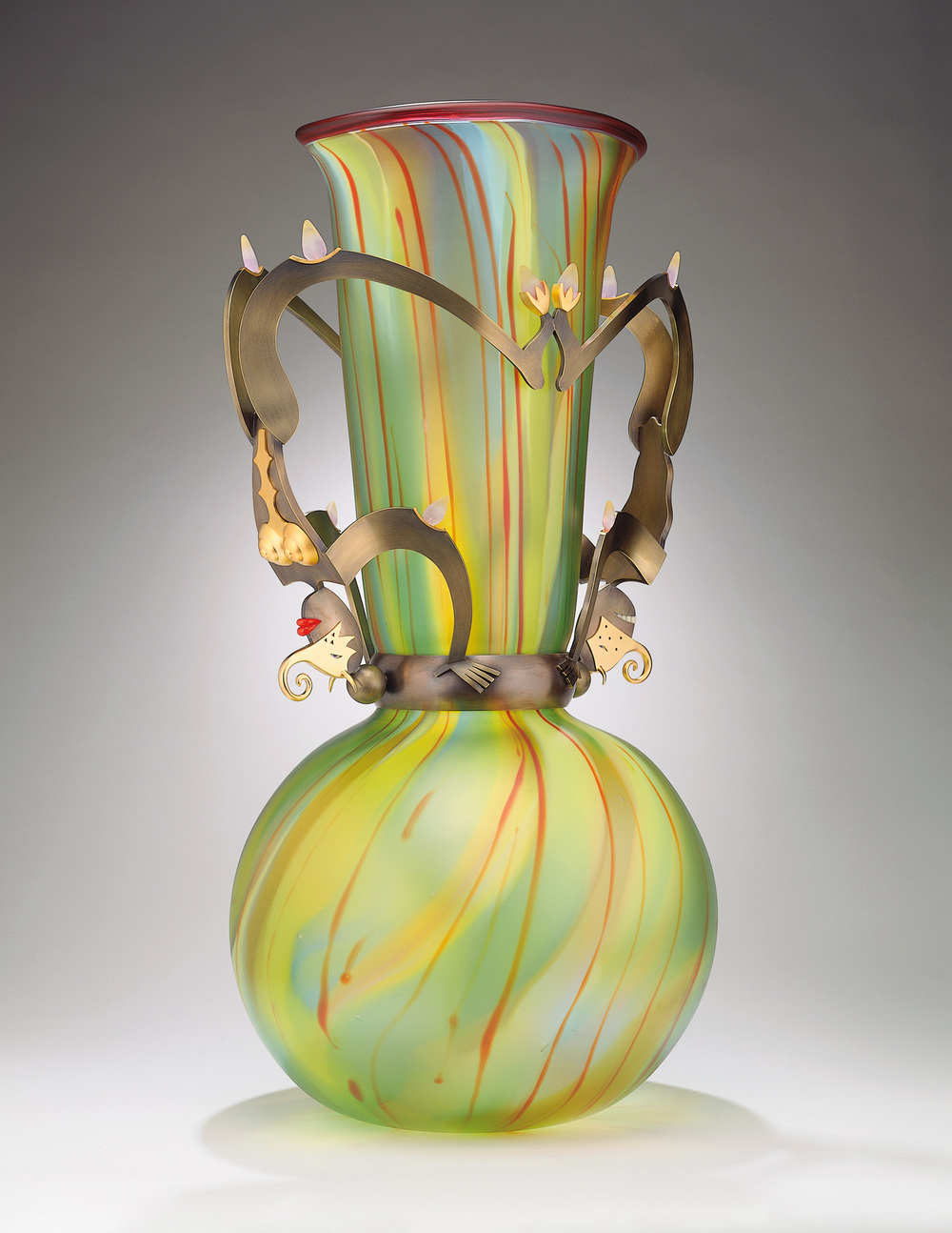 Tumbling Devils   2000. Blown glass, bronze and gold-plated bronze, pate de verre. 30 x 19 x 15""