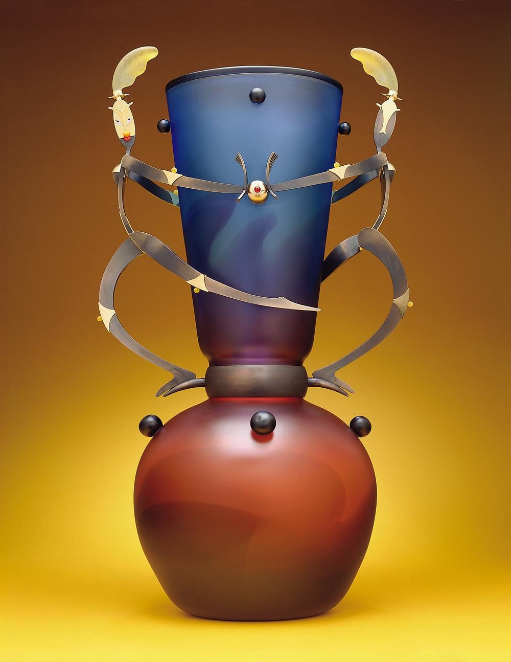 "Celebration   1999. Blown glass, bronze and gold-plated bronze, pate de verre. 34 x 20 x 15"""
