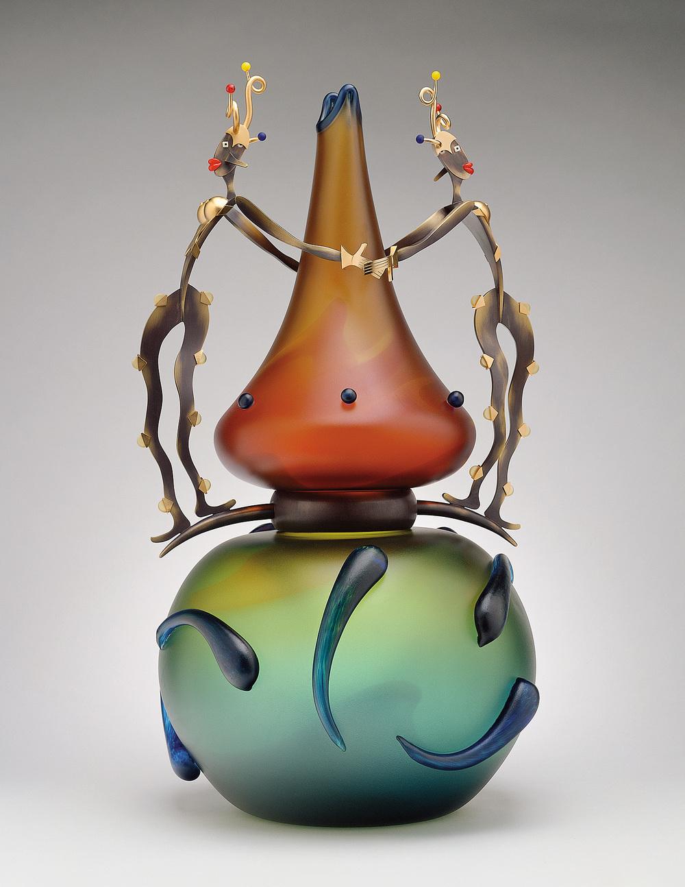"Art Heads   1999. Blown glass, bronze and gold-plated bronze, Vitrolite. 28 x 15 x 15"""