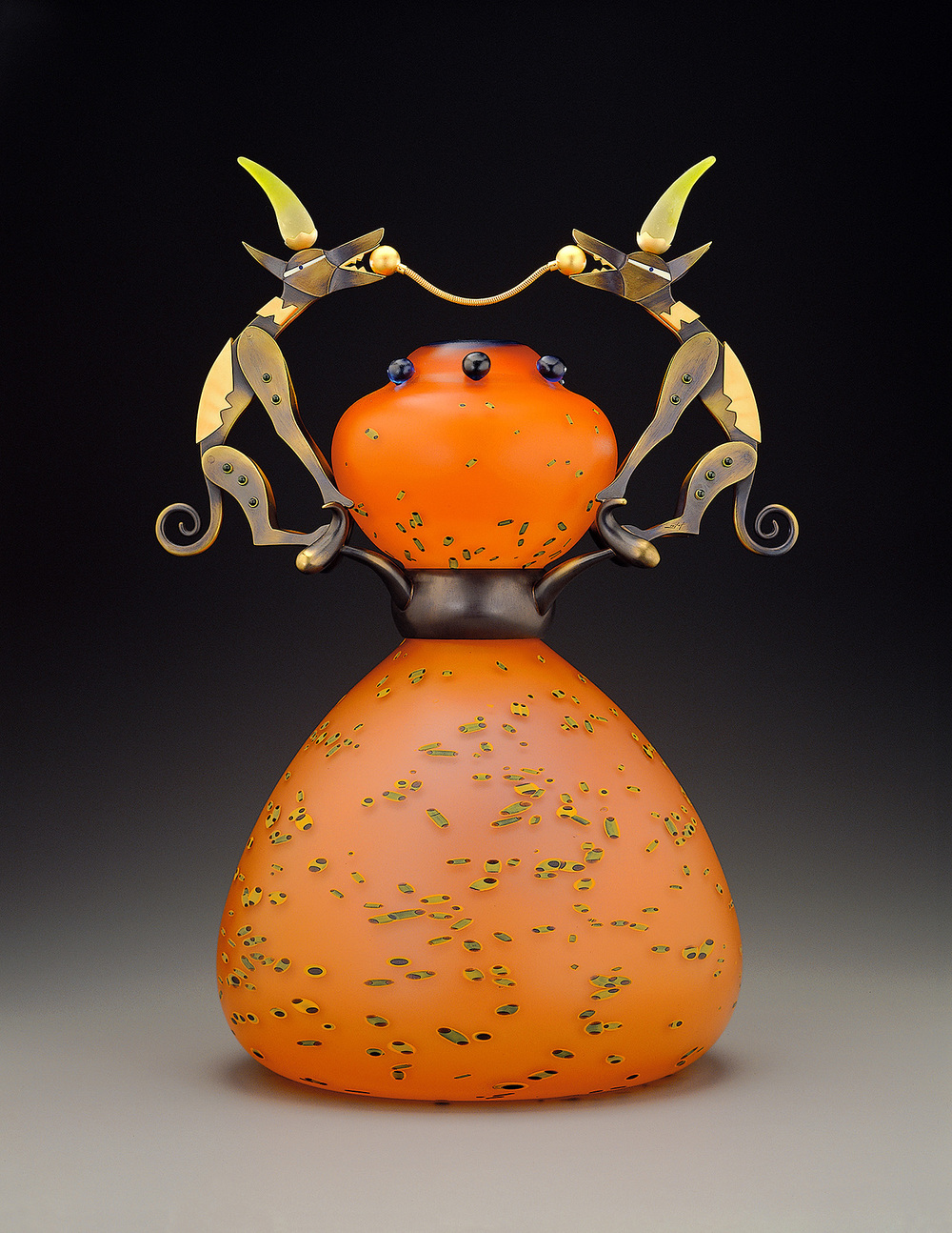 """Tug of Dogs   1999. Blown glass, bronze and gold-plated bronze, Vitrolite. 18 x 15 x 15"""""""