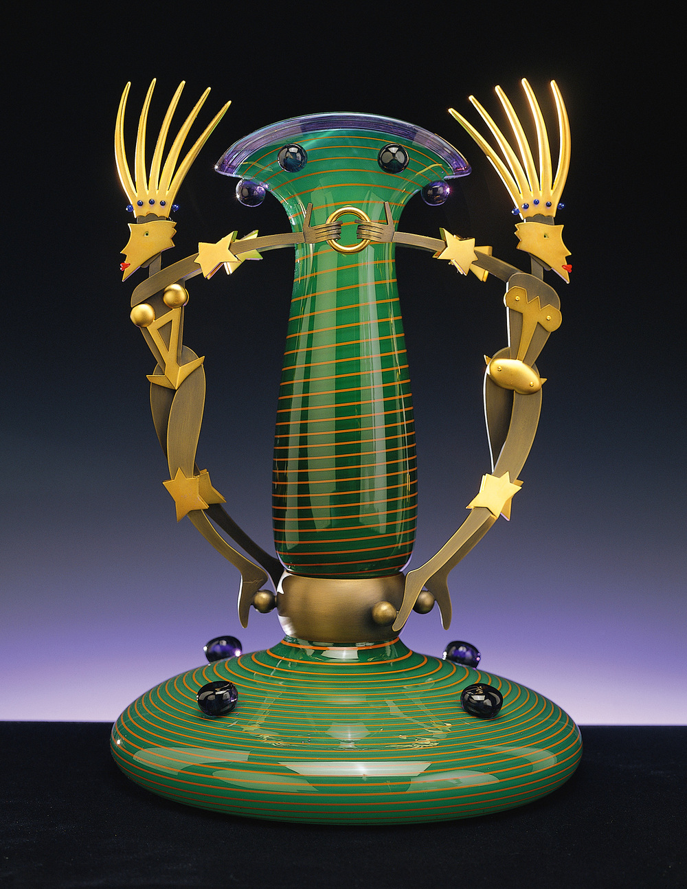 Star Queens   1999. Blown glass, bronze and gold-plated bronze. 17½ x 11 x 11""
