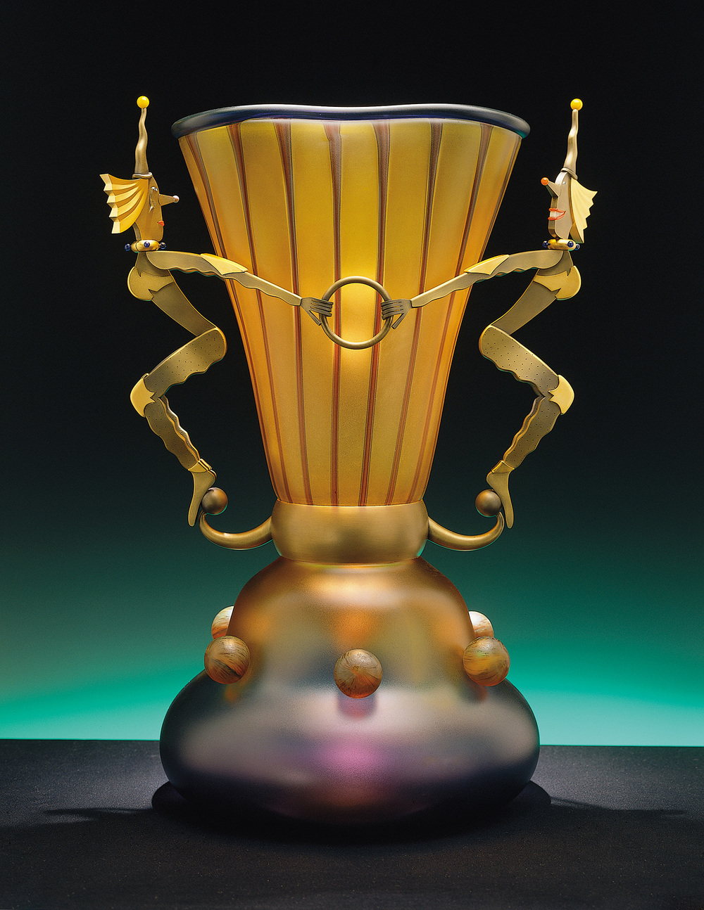 """Glee & Remorse   1999. Blown glass, bronze and gold-plated bronze. 25 x 18½ x 18½"""""""