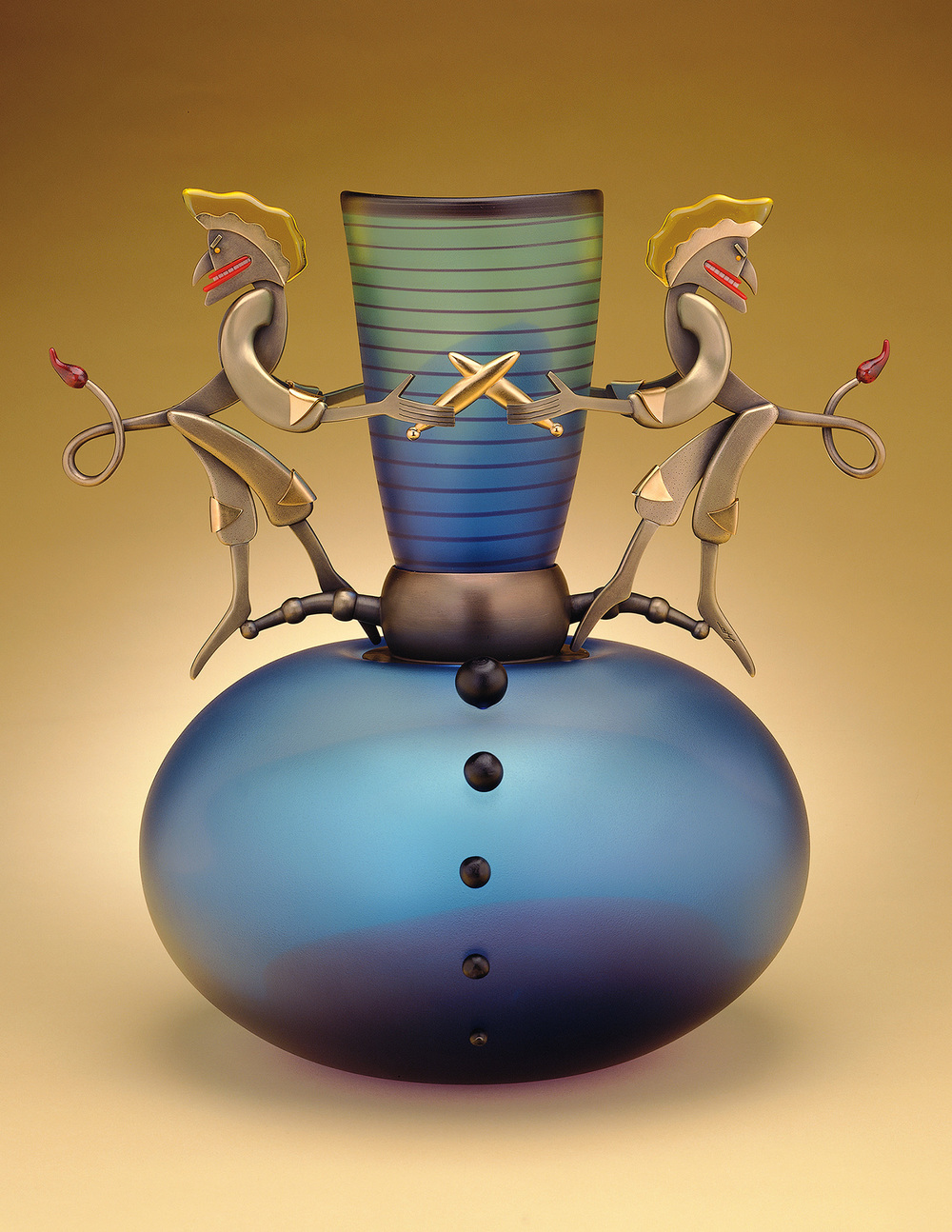 """Juggling Devils   1999. Blown glass, nickel and gold-plated bronze, Vitrolite and pate de verre. 16½ x 15½ x 13"""""""