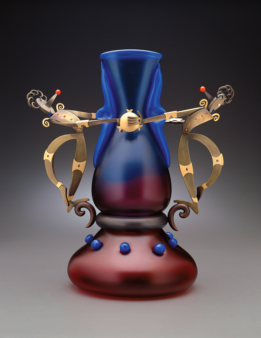 Cubist Clowns   1998. Blown glass, bronze and gold-plated bronze. 14 x 8 x 11½""