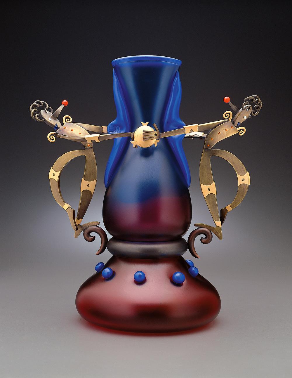 """Cubist Clowns   1998. Blown glass, bronze and gold-plated bronze. 14 x 8 x 11½"""""""