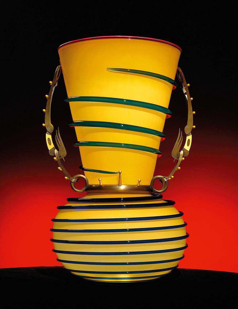 "Balancers   1996. Blown glass, bronze and gold-plated bronze. 29½ x 18½ x 16½"""