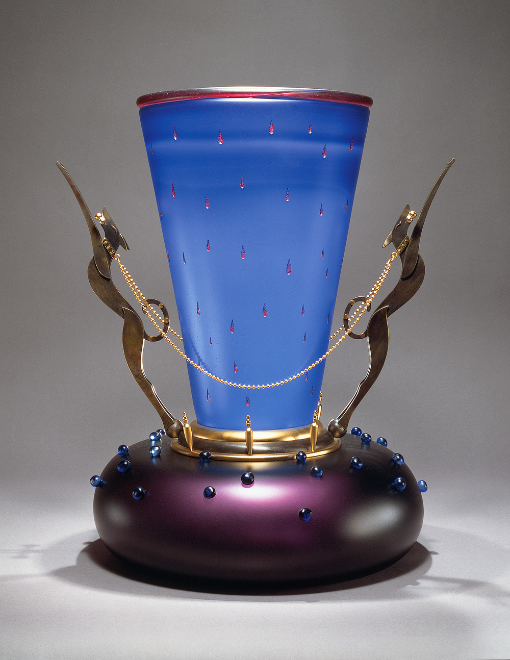 """Circus Dogs   1995. Blown glass, bronze and gold-plated bronze. 24 x 20½ x 17"""""""