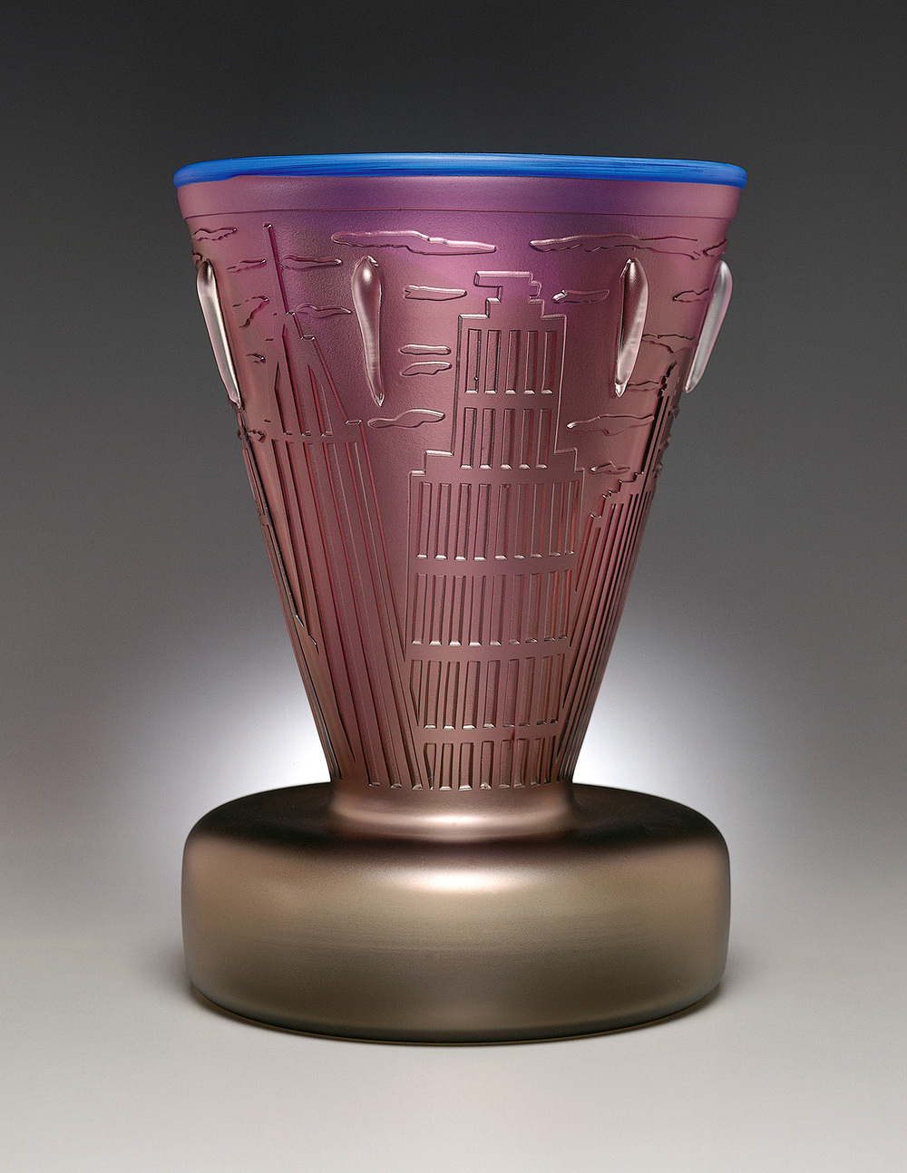 New York 3   1994. Blown glass, sandblasted and acid polished. 16½ x 11½ x 11½""