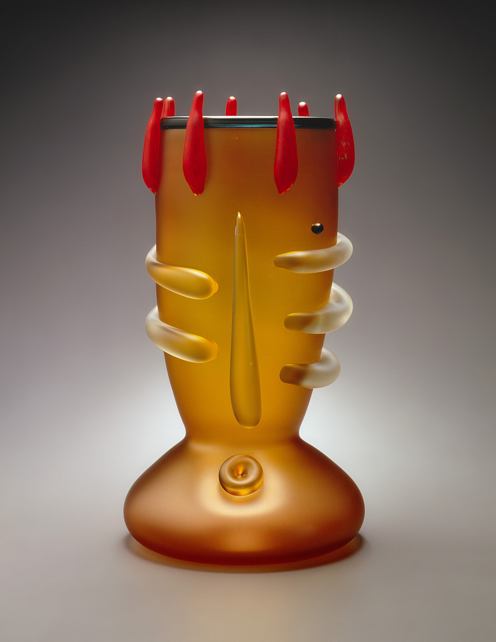 Sour   1994. Sandblasted and acid polished blown glass, glass details. 21 x 11 x 11""