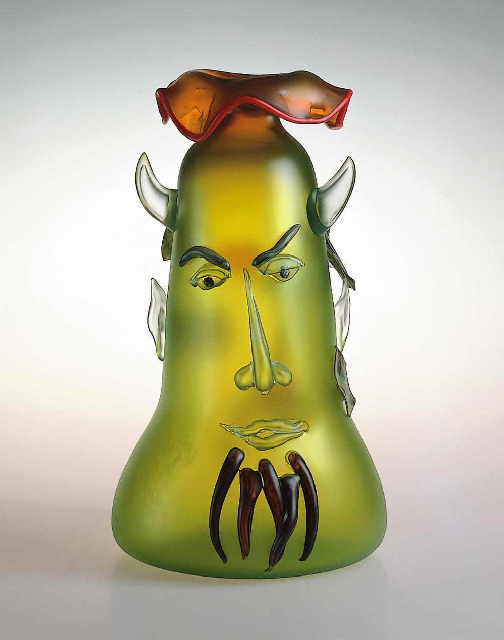 """Pan   1990. Blown glass, sandblasted and acid polished. 21 x 12 x 12"""""""