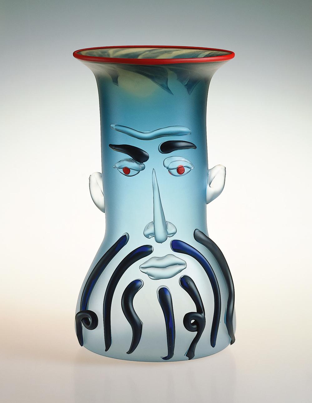"Hercules   1990. Blown glass, sandblasted and acid polished. 21 x 11½ x 11½"""