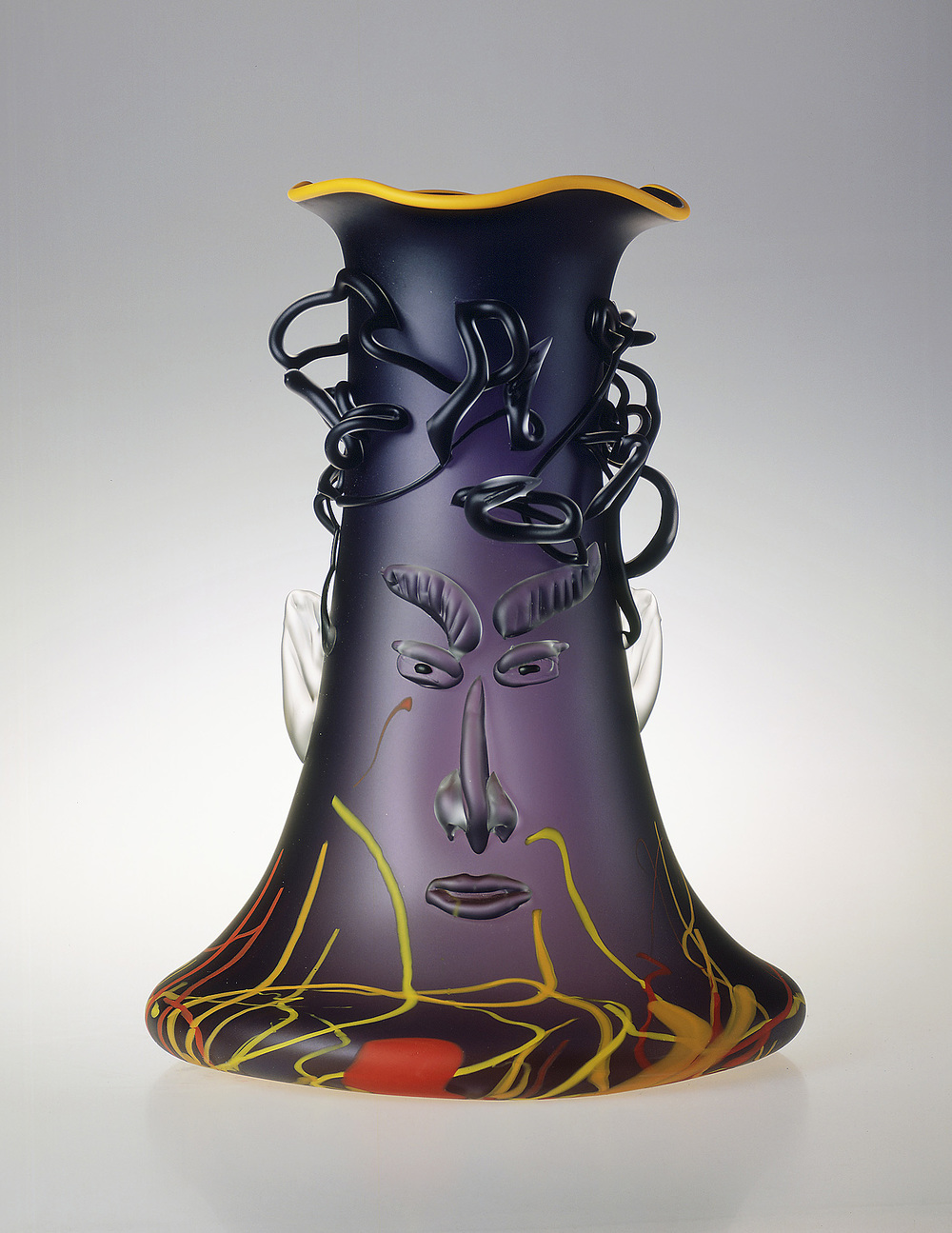 "Dionysus   1989. Blown glass, sandblasted and acid polished. 24 x 13 x 13"""