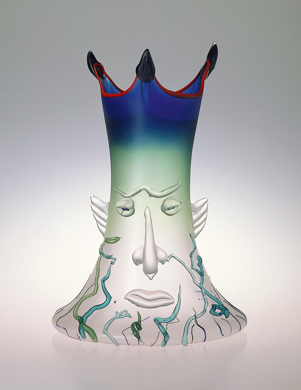 "Poseidon   1989. Blown glass, sandblasted and acid polished. 26 x 14 x 14"""