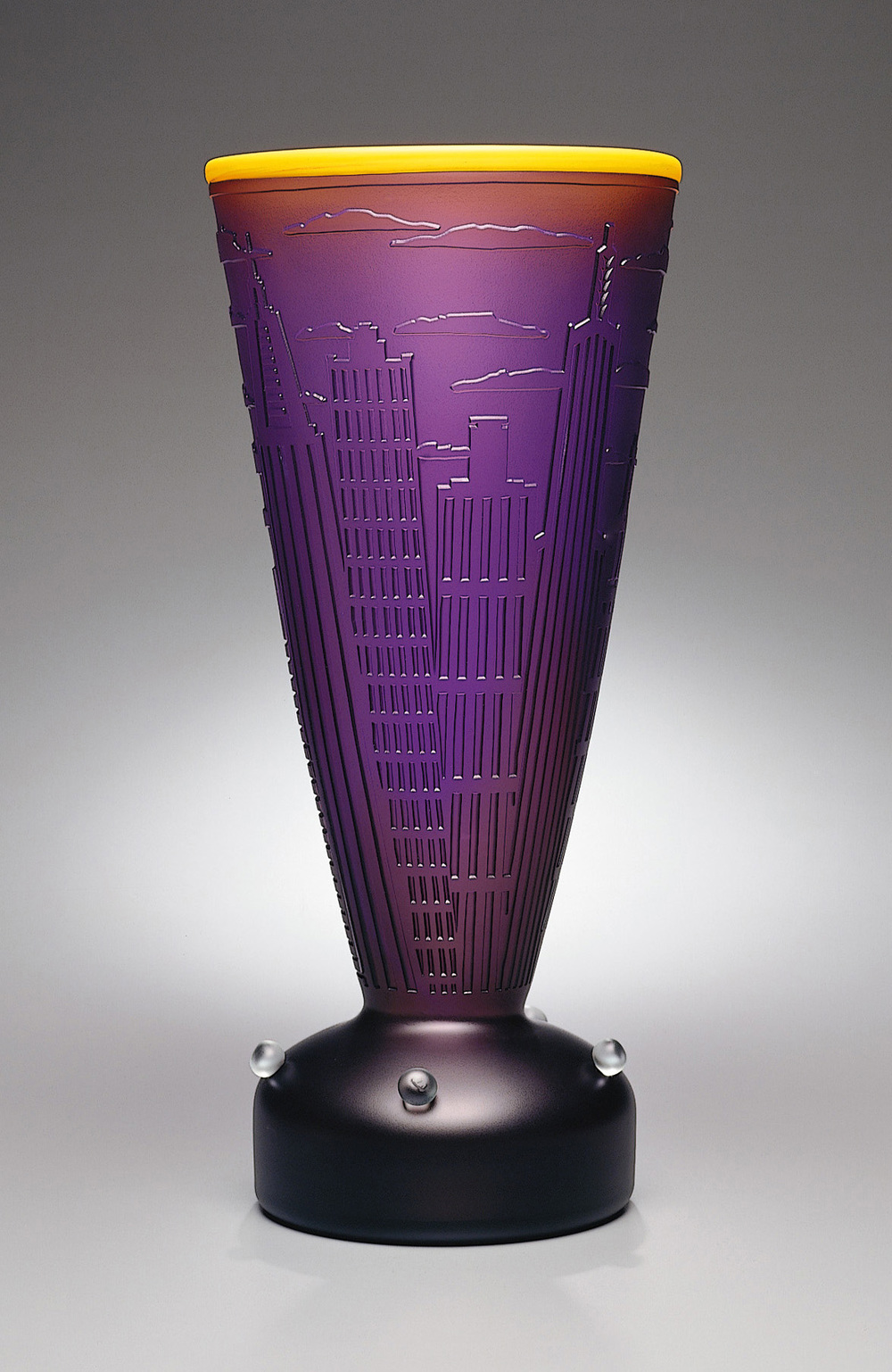 New York 8 1994. Blown glass, sandblasted and acid polished. 21½ x 10 x 10""
