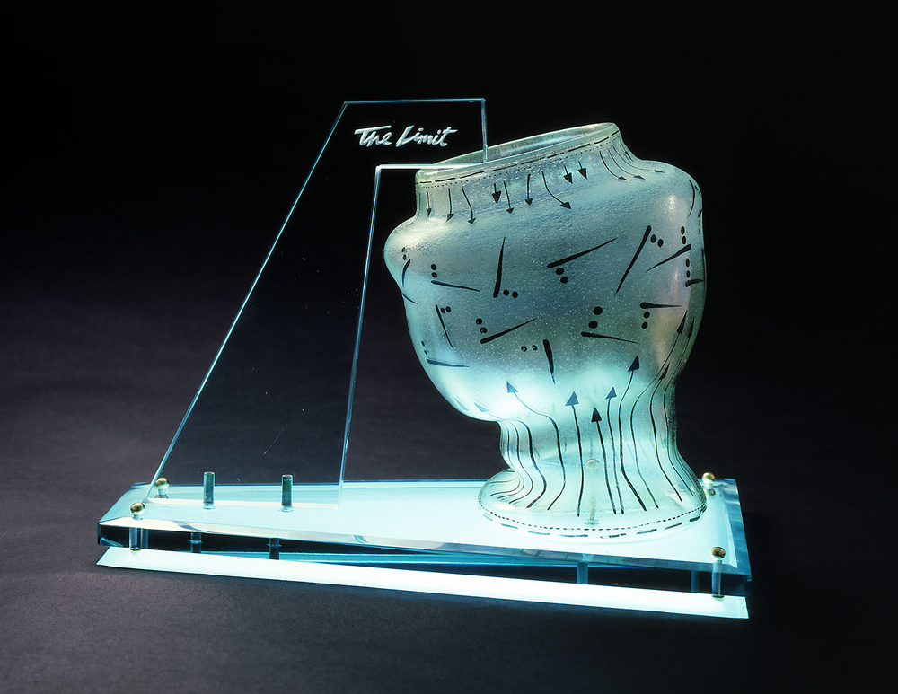 The Limit   1978. Blown glass, plate glass, brass. 12 x 15 x 8""
